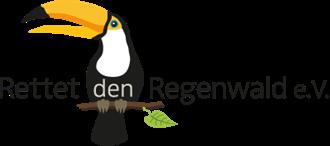 Grafik eines Tukans auf einem Ast mit der Aufschrift Rettet den Regenwald e.V. darüber in schwarzer Schrift auf weißem Hintergrund