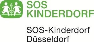 SOS Kinderdorf in grüner Schrift auf weißem Hintergrund mit grünem Logo und in schwarzer Schrift SOS Kinderdorf Düsseldorf
